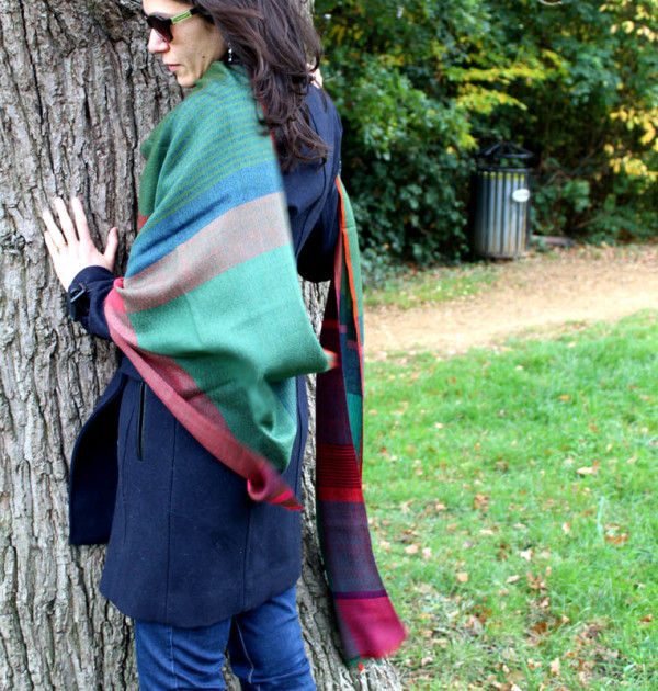 Elegant green and blue block scarf lifestyle shot