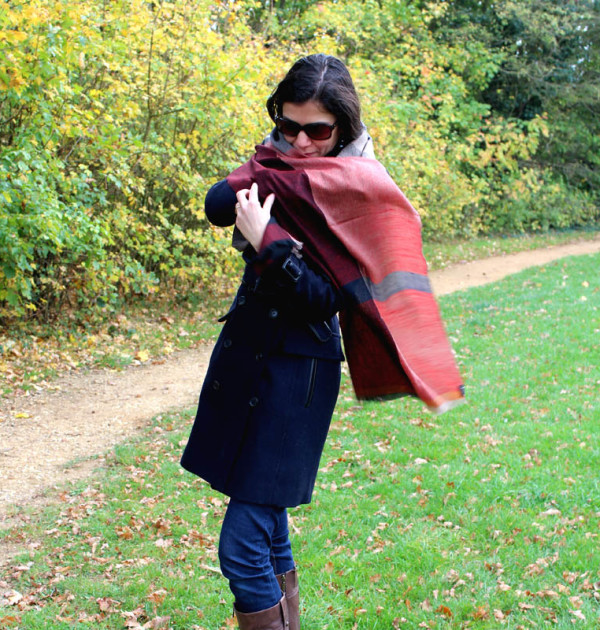 Maroon and Red Blocks Scarf Lifestyle shot